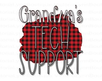 Kids Design - Grandma's Tech Support Buffalo Plaid PNG For Sublimation Printing, Tech Savvy, T-Shirt Design, DTG Printing, Digital Download