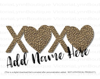 PERSONALIZED XOXO Leopard Print Design For Sublimation Printing, Valentines Day, Hearts Png, XOXO Png, Digital Download Product, Custom
