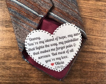"But Most of All You're My Love VALENTINE'S DAY Tie Patch, Gift for Him, Sew, Iron On, 2.25"" Heart Shape, Ink Print"