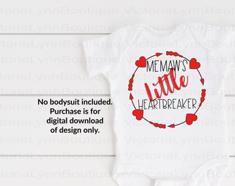 Memaw's Little Heartbreaker Valentine For Sublimation Printing, Valentines Day, tshirt png, Png File, 300 DPI, Instant Digital Download