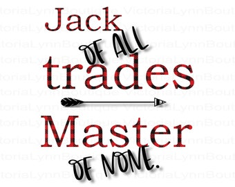 Buffalo Plaid Jack of All Trades Master of None PNG File For Sublimation Printing, T-Shirt Design, Clip Art, DTG Printing, Digital Download