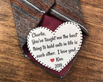 "The Best Thing To Hold Onto In Life Is Each Other VALENTINE'S DAY Tie Patch - Gift for Him, Sew or Iron On, 2.25"" Heart Shape, Ink Print"