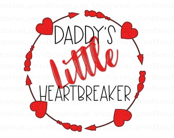 Daddy's Little Heartbreaker Valentine For Sublimation Printing, Valentines Day, tshirt png, Png File, 300 DPI, Instant Digital Download