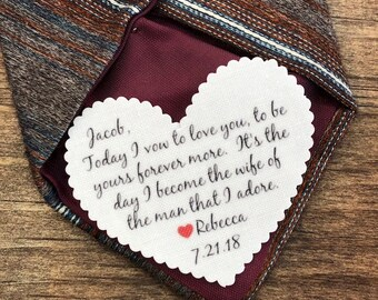 """Groom Tie Patch - Gifts for Him, From the Bride, Sew On, Iron On, Today I Vow, NO BORDER PATCH, 2.25"""" Heart Shape, Choose Font & Patch Color"""