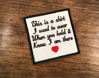AS SHOWN ONLY - Embroidered Memory Patch with Little Red Heart - This Is a Shirt - Sew On or Iron On Options, 4 Inch Square Patch