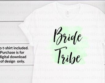Bride Tribe on Watercolor Splash For Sublimation Printing, PNG File, 300 DPI, DTG printing, Instant Digital Download for Bridal Shower