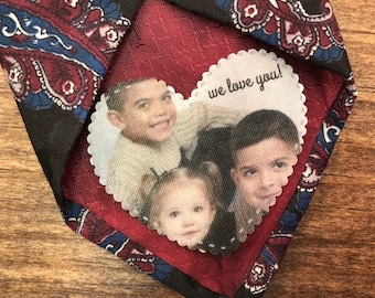 "GIFT FOR DAD - Tie Patch, Photo Patch, Personalized Patch, Custom Photo Patch, Sew On, Iron On, 2.25"" Wide Heart Shaped Patch, Gifts for Dad"