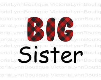 Big Sister Red Buffalo Plaid Design For Sublimation Printing, PNG File, 300 DPI, DTG printing, Instant Digital Download