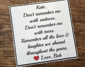 "CUSTOM MEMORY PATCH - Remember All the Love and Laughter - 2.5"" or 4"" Square, Scalloped Edge, Sew On, Iron On, Loss of Love One, Ink Printed"