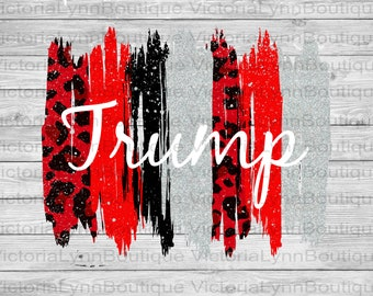 Trump Supporter Brushstrokes and Red Leopard Design For Sublimation Printing, PNG File, 300 DPI, DTG printing, Instant Digital Download