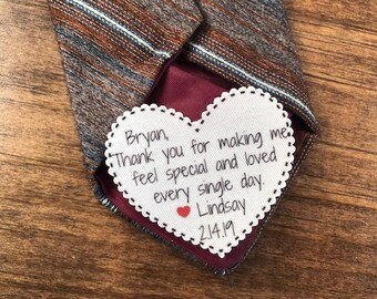 "Special And Loved Every Single Day VALENTINE'S DAY Tie Patch, Gift for Him, Sew, Iron On, 2.25"" Heart Shape, Ink Print"