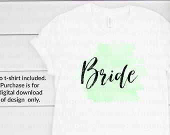 Bride on Watercolor Splash For Sublimation Printing, PNG File, 300 DPI, DTG printing, Instant Digital Download for Bridal Shower