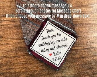 "GIFTS FOR HIM - Wedding Tie Patch - Father of Bride, Father of the Groom, Groom Patch - 2"" Wide Patch, Sew or Iron, Skinny Tie, Choose Font"