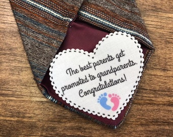"PREGNANCY REVEAL Patch - Tie Patch, Baby Reveal, Promoted to Grandparents, 2.25"" Heart Shaped, Scalloped Edge, Sew On, Iron On"