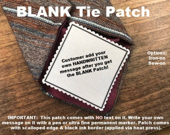 "BLANK TIE PATCH - No Message or Text Added - 2.5"" Across Diagonal Middle - Sew On or Iron On - Father of the Bride, Groom, Ready To Ship!"