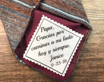 """Wedding Tie Patch - Father of the Bride - Gift for Dad, SPANISH, ENGLISH, 2"""" or 2.5"""" Wide Patch, Sew On  or Iron On, Ink Printed"""