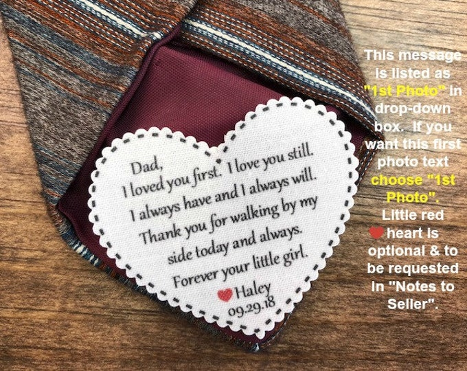 "Featured listing image: WEDDING TIE PATCH - Father of the Bride, Father of the Groom, Groom Tie Patch, Sew or Iron On, 2.25"" Wide Heart Shaped Patch, Dot Border"