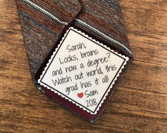"CUTE GRADUATION GIFT - Tie Patch, Sew or Iron On, 2.5"" Wide, Looks Brains And Now a Degree, Vest Patch, Bag Patch, High School, College Grad"