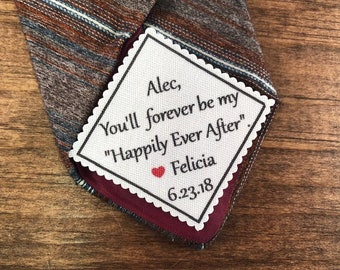 """GROOM TIE PATCH - Sew On, Iron On, 2"""" or 2.5"""" Wide Diamond Shaped Patch - You'll Forever Be My """"Happily Ever After"""" - Groom Gift From Bride"""