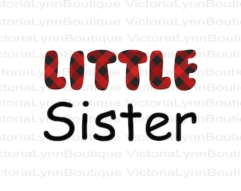 Little Sister Red Buffalo Plaid Design For Sublimation Printing, PNG File, Baby Png, Little Sister Png, DTG, Instant Digital Download