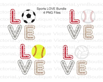 Love Sports Bundle Valentine Print For Sublimation Printing, PNG File, 300 DPI, DTG printing, Instant Digital Download