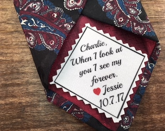 """Groom's WEDDING TIE PATCH  -  Sew on or Iron On, 2.5"""" Wide, Personalized Groom Tie Patch, Choose Message and Font, Little Red Heart or Not"""
