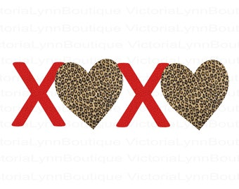 XOXO Leopard Print Hearts For Sublimation Printing, Valentines Day, Png File, XOXO Png, Shirt Design, DTG printing, Instant Digital Download