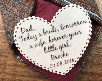 "WEDDING GIFT for DAD - Tie Patch, Choose Message and Font, 2.25"" Heart Shaped, Dot Border, Sew, Iron, Father of the Bride, Father of Groom"
