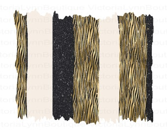 Gold Tiger Stripes with Black Glitter and Cream Brushstrokes For Sublimation Printing, Background Png, PNG File, Instant Digital Download