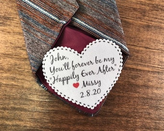 "GROOM TIE PATCH - Sew On, Iron On, 2.25"" Wide Heart Shaped Patch - You'll Forever Be My ""Happily Ever After"" - Groom Gift From the Bride"