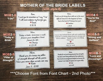 MOTHER of THE BRIDE Gift - Fabric Label, Bag Label, Dress Tag, Sew, Iron, Rectangle Patch, 3 Sizes, Scalloped Edge, MOB1-S Through MOB6-S