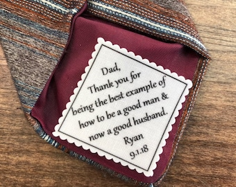 "FATHER IN LAW - Father of the Groom -  Personalized Wedding Gift, 2"" or 2.5"" Wide Patch, Sew On, Iron On, I Am Blessed, Wedding Tie Patch"
