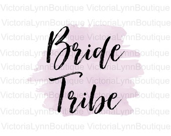 Bride Tribe on Plum Lilac Shade Watercolor Splash For Sublimation Printing, PNG File, 300 DPI, DTG printing, Instant Digital Download