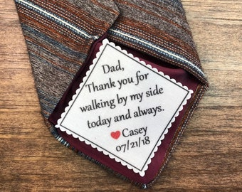"""GIFT FOR DAD - Tie Patch, Father of the Bride, Father of the Groom, Iron On, Sew On, Little Heart, 2"""" Wide Patch, Personalized Patch"""