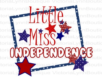 Patriotic Little Miss Independence For Sublimation Printing, PNG File, Baby Png, DTG printing, Instant Digital Download for 4th of July