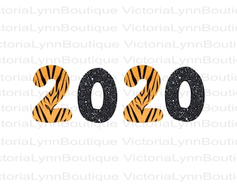 New Year 2020 in Tiger Print and Black Glitter For Sublimation Printing, PNG File, 300 DPI, DTG printing, Instant Digital Download