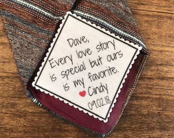 "GROOM'S TIE PATCH in Sew On or Iron On and From the Bride - Every Love Story Is Special, 2.5"" Wide Patch, For the Groom, 15 Fonts!"