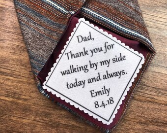 "2"" Wide TIE PATCH - Iron On, Sew On, Wedding Tie Patch, Father of Bride, Father of Groom, Groom, Personalized Patch, Gifts for Him"