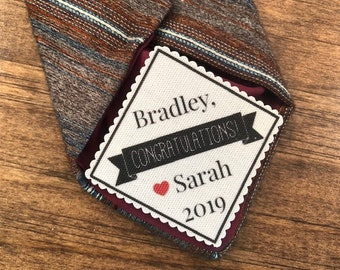 "CONGRATULATIONS ON GRADUATION Tie Patch - Sew or Iron On, 2.5"" Wide Patch, Graduation Gifts, High School, College Grad"