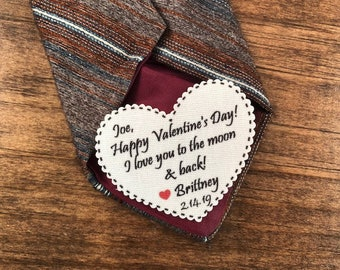 "I Love You to the Moon & Back VALENTINE'S DAY PATCH - Tie Patch, Vest Patch, Gift for Him, Sew or Iron On, 2.25"" Heart Shape, Ink Print"