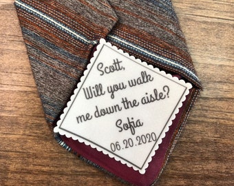"FATHER of the BRIDE GIFT, Tie Patch, Sew On, Iron On, Personalized Patch, 2.5"" Wide, Will You Walk Me Down the Aisle?"