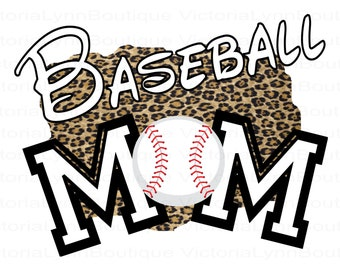 Baseball Mom Leopard Design PNG For Sublimation Printing, Sports Png, Baseball Png, Mom Png, T-Shirt Png, 300 DPI, Digital Download
