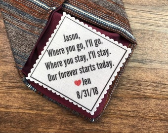 """FROM BRIDE to GROOM Tie Patch - Optional Little Red Heart, Groom Gifts, Gifts for Him - 2.5"""" Wide -  Sew on or Iron On - Personalized Patch"""