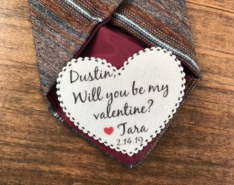 "Will You Be My Valentine - VALENTINE'S DAY Tie Patch, Gift for Him, Sew or Iron On, 2.25"" Heart Shape, Ink Printed"