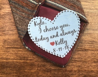 """GROOM TIE PATCH - Groom Gift, Iron On, Sew On , I Choose You Today And Always, Choose Patch Color, 2.25"""" Wide Heart Shaped Patch"""