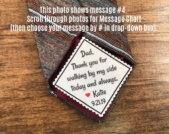 "GIFT FOR DAD - Tie Patch, Father of the Bride, Father of the Groom, Iron On, Sew On, Little Heart, 2"" Wide Patch, Personalized Patch"