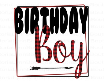 Buffalo Plaid Birthday Boy PNG File For Sublimation Printing, Boys Birthday Png, T-Shirt Design, Clip Art, DTG Printing, Digital Download