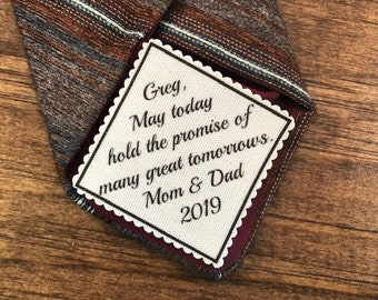 "Graduation Tie Patch - Sew On or Iron On, 2.5"" Wide Patch, The Promise of Many Great Tomorrows, Graduation Gifts, High School, College Grad"