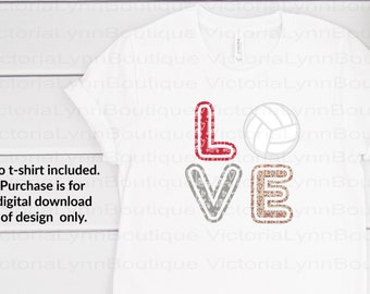 Love Volleyball Valentine Print For Sublimation Printing, PNG File, 300 DPI, DTG printing, Instant Digital Download