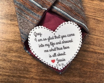 "So Glad That You Came Into My Life VALENTINE'S DAY Tie Patch, Gift for Him, Sew, Iron On, 2.25"" Heart Shape, Ink Print"